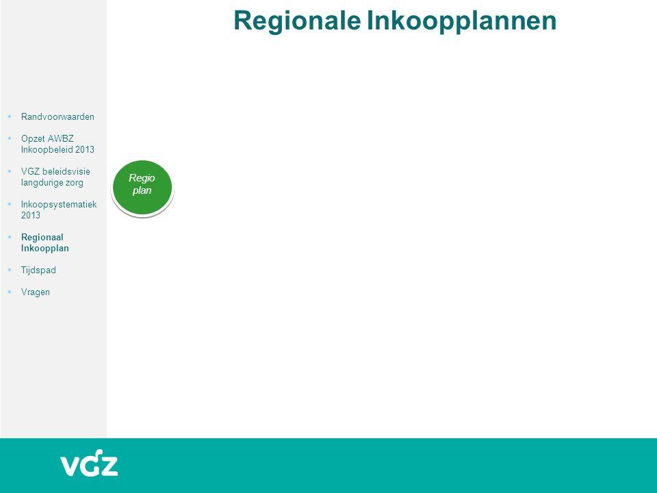 Regionale Inkoopplannen Regio plan  Randvoorwaarden  Opzet AWBZ Inkoopbeleid 2013  VGZ beleidsvisie langdurige zorg  Inkoopsystematiek 2013  Regionaal Inkoopplan  Tijdspad  Vragen