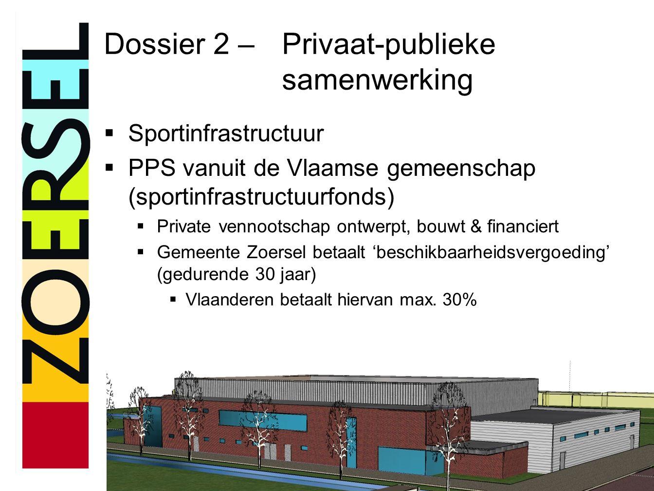 Dossier 2 – Privaat-publieke samenwerking  Sportinfrastructuur  PPS vanuit de Vlaamse gemeenschap (sportinfrastructuurfonds)  Private vennootschap