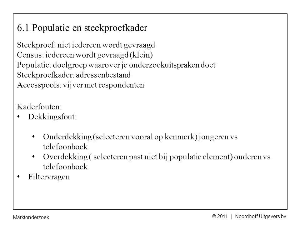 Marktonderzoek © 2011 | Noordhoff Uitgevers bv Opdracht 8 Beschrijf het steekproefkader, de selectie van respondenten, de grootte van de steekproef, en maak een inschatting van het responspercentage van wanneer deze voldoende representatief is.