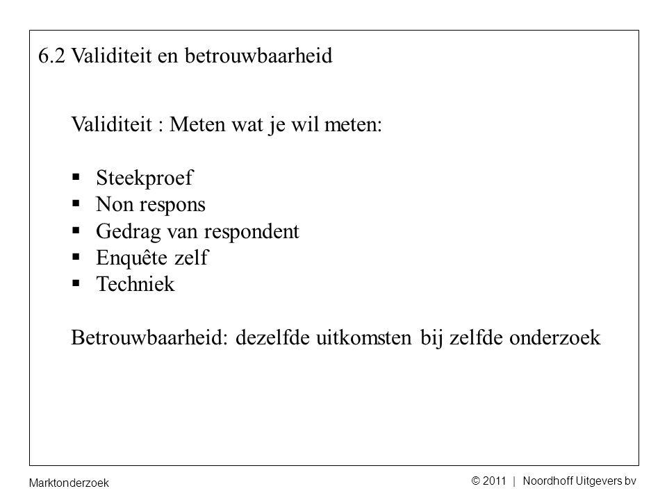 Marktonderzoek © 2011 | Noordhoff Uitgevers bv 6.3 Representativiteit Goede dwarsdoorsnede