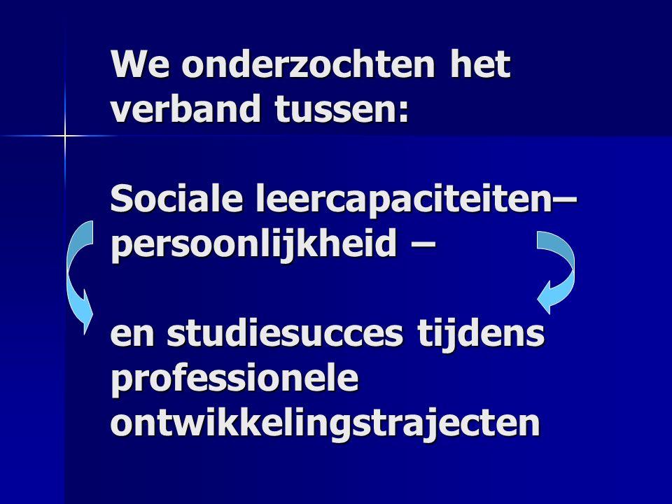 We onderzochten het verband tussen: Sociale leercapaciteiten– persoonlijkheid – en studiesucces tijdens professionele ontwikkelingstrajecten