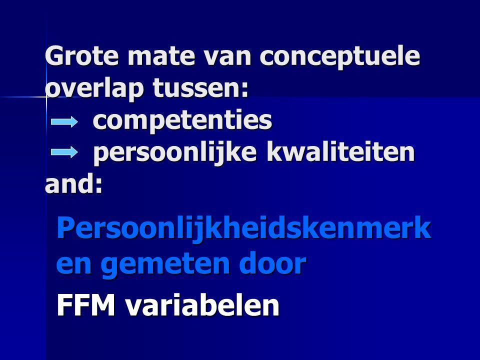 Grote mate van conceptuele overlap tussen: competenties persoonlijke kwaliteiten and: Persoonlijkheidskenmerk en gemeten door FFM variabelen
