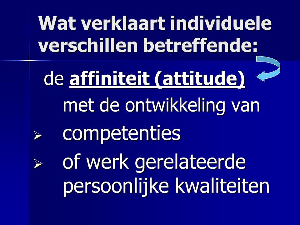 Wat verklaart individuele verschillen betreffende: de affiniteit (attitude) met de ontwikkeling van  competenties  of werk gerelateerde persoonlijke kwaliteiten