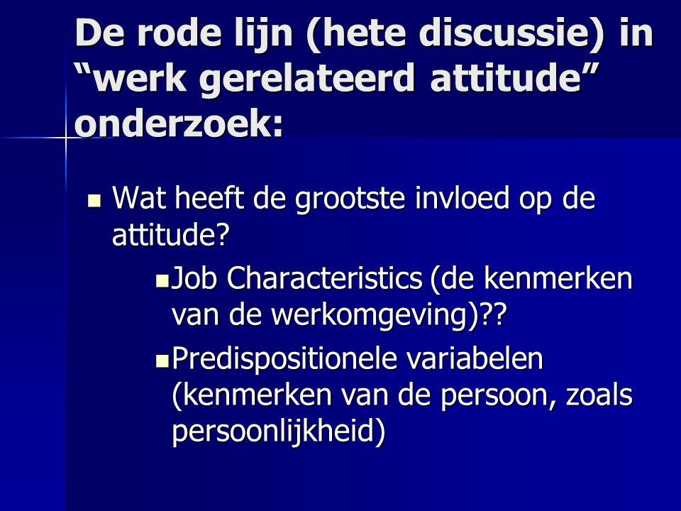 De rode lijn (hete discussie) in werk gerelateerd attitude onderzoek: Wat heeft de grootste invloed op de attitude.