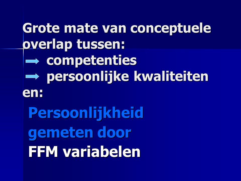 Grote mate van conceptuele overlap tussen: competenties persoonlijke kwaliteiten en: Persoonlijkheid gemeten door FFM variabelen