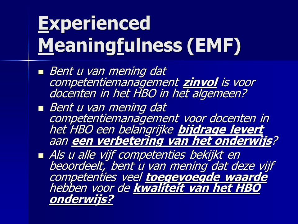 Experienced Meaningfulness (EMF) Bent u van mening dat competentiemanagement zinvol is voor docenten in het HBO in het algemeen.