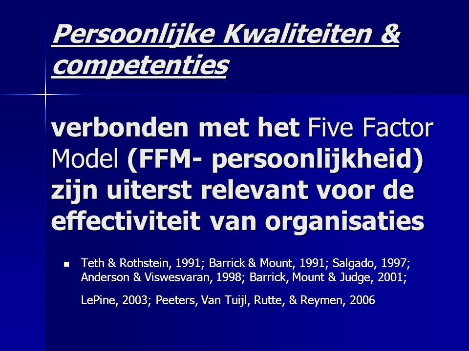 Persoonlijke Kwaliteiten & competenties verbonden met het Five Factor Model (FFM- persoonlijkheid) zijn uiterst relevant voor de effectiviteit van organisaties Teth & Rothstein, 1991; Barrick & Mount, 1991; Salgado, 1997; Anderson & Viswesvaran, 1998; Barrick, Mount & Judge, 2001; LePine, 2003; Peeters, Van Tuijl, Rutte, & Reymen, 2006 Teth & Rothstein, 1991; Barrick & Mount, 1991; Salgado, 1997; Anderson & Viswesvaran, 1998; Barrick, Mount & Judge, 2001; LePine, 2003; Peeters, Van Tuijl, Rutte, & Reymen, 2006