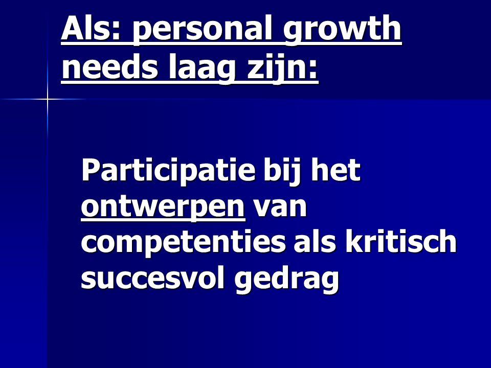 Als: personal growth needs laag zijn: Participatie bij het ontwerpen van competenties als kritisch succesvol gedrag