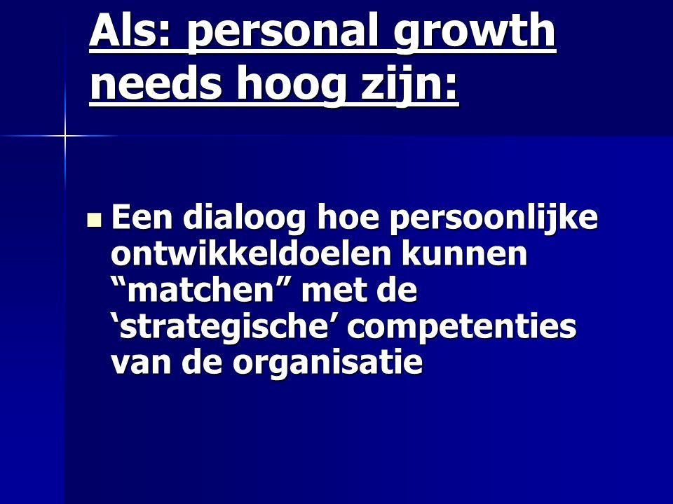 Als: personal growth needs hoog zijn: Een dialoog hoe persoonlijke ontwikkeldoelen kunnen matchen met de 'strategische' competenties van de organisatie Een dialoog hoe persoonlijke ontwikkeldoelen kunnen matchen met de 'strategische' competenties van de organisatie