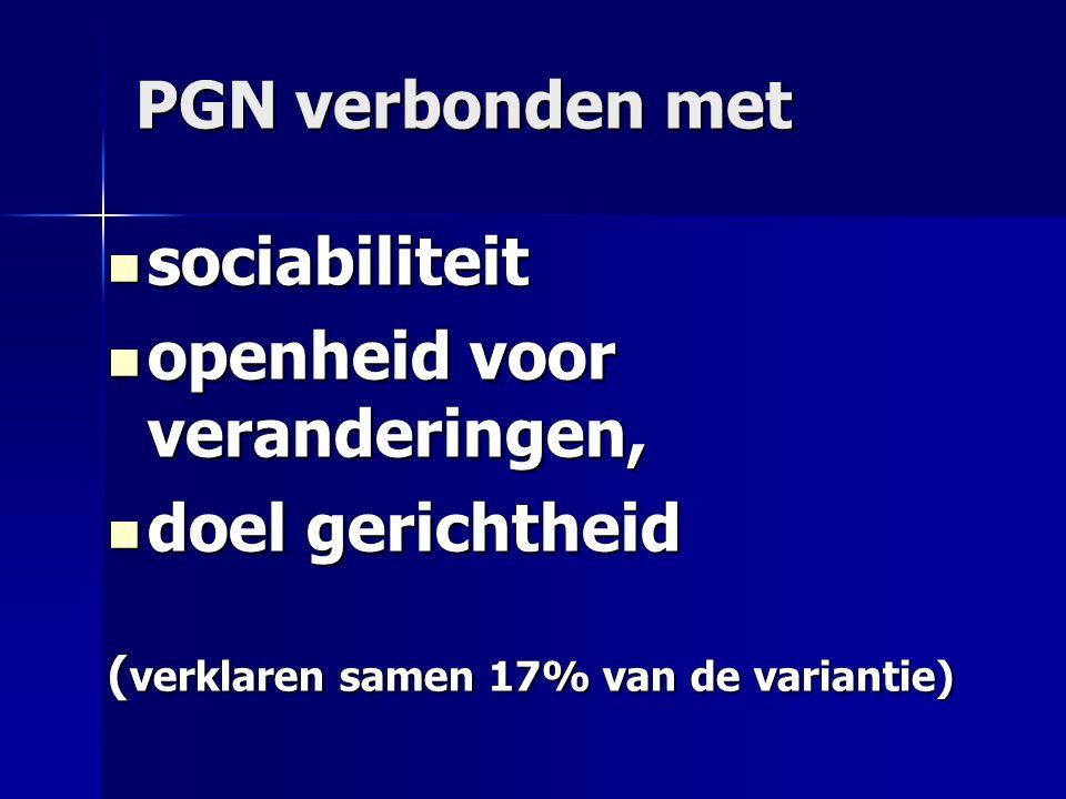PGN verbonden met sociabiliteit sociabiliteit openheid voor veranderingen, openheid voor veranderingen, doel gerichtheid doel gerichtheid ( verklaren samen 17% van de variantie)