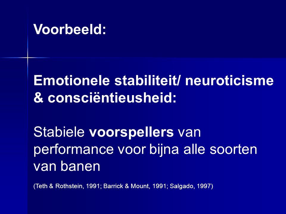 Voorbeeld: Emotionele stabiliteit/ neuroticisme & consciëntieusheid: Stabiele voorspellers van performance voor bijna alle soorten van banen (Teth & Rothstein, 1991; Barrick & Mount, 1991; Salgado, 1997)