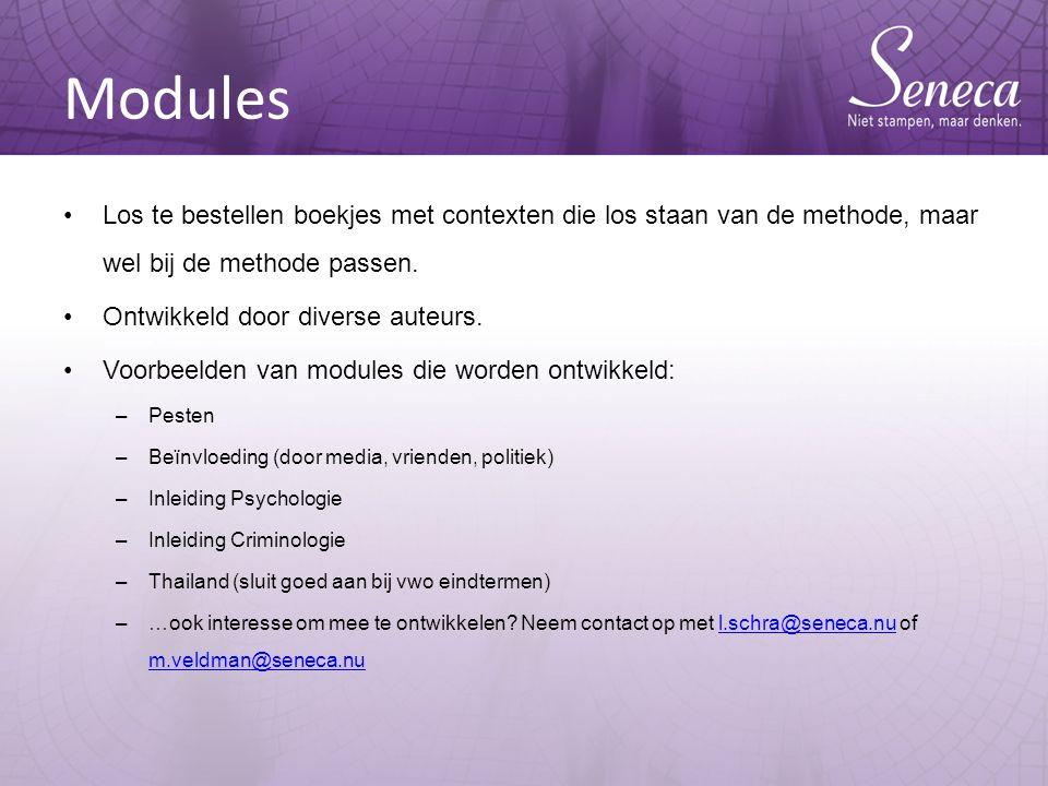 Modules Los te bestellen boekjes met contexten die los staan van de methode, maar wel bij de methode passen.