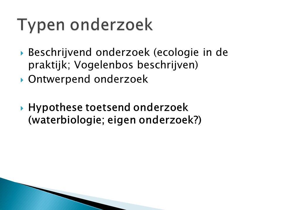  Beschrijvend onderzoek (ecologie in de praktijk; Vogelenbos beschrijven)  Ontwerpend onderzoek  Hypothese toetsend onderzoek (waterbiologie; eigen