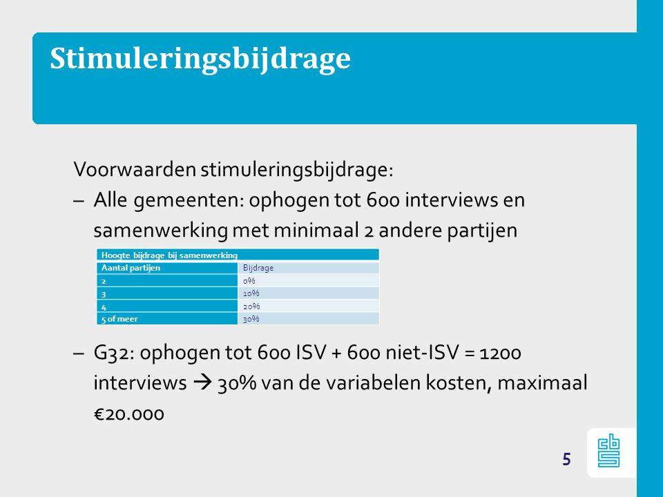 Stimuleringsbijdrage Voorwaarden stimuleringsbijdrage: –Alle gemeenten: ophogen tot 600 interviews en samenwerking met minimaal 2 andere partijen –G32