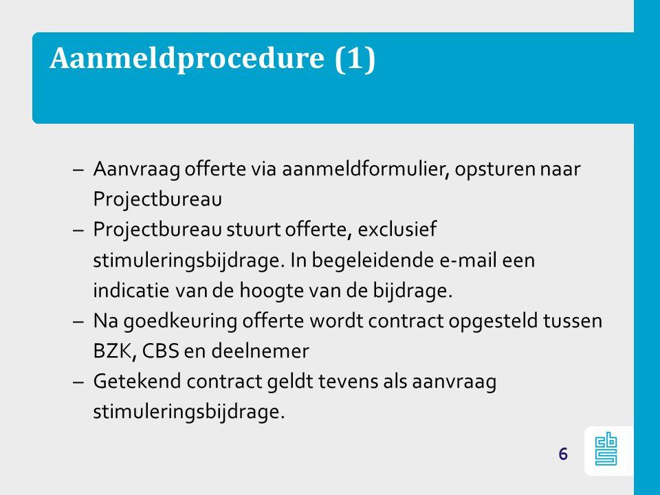 Aanmeldprocedure (1) –Aanvraag offerte via aanmeldformulier, opsturen naar Projectbureau –Projectbureau stuurt offerte, exclusief stimuleringsbijdrage
