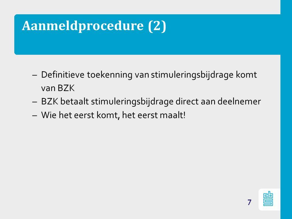 Aanmeldprocedure (2) –Definitieve toekenning van stimuleringsbijdrage komt van BZK –BZK betaalt stimuleringsbijdrage direct aan deelnemer –Wie het eerst komt, het eerst maalt.