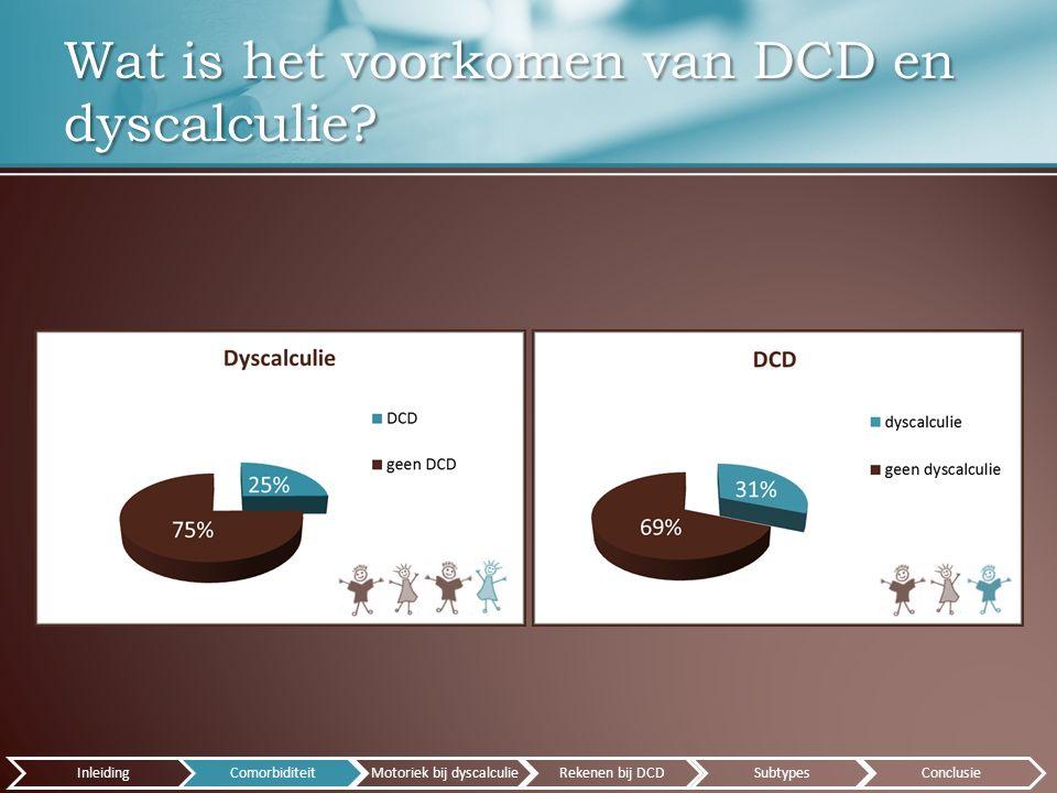 Wat is het voorkomen van DCD en dyscalculie.