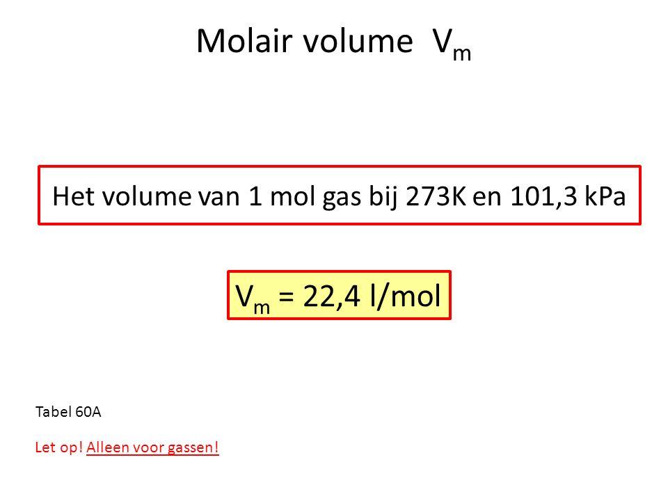 Molair volume V m Het volume van 1 mol gas bij 273K en 101,3 kPa V m = 22,4 l/mol Let op! Alleen voor gassen! Tabel 60A