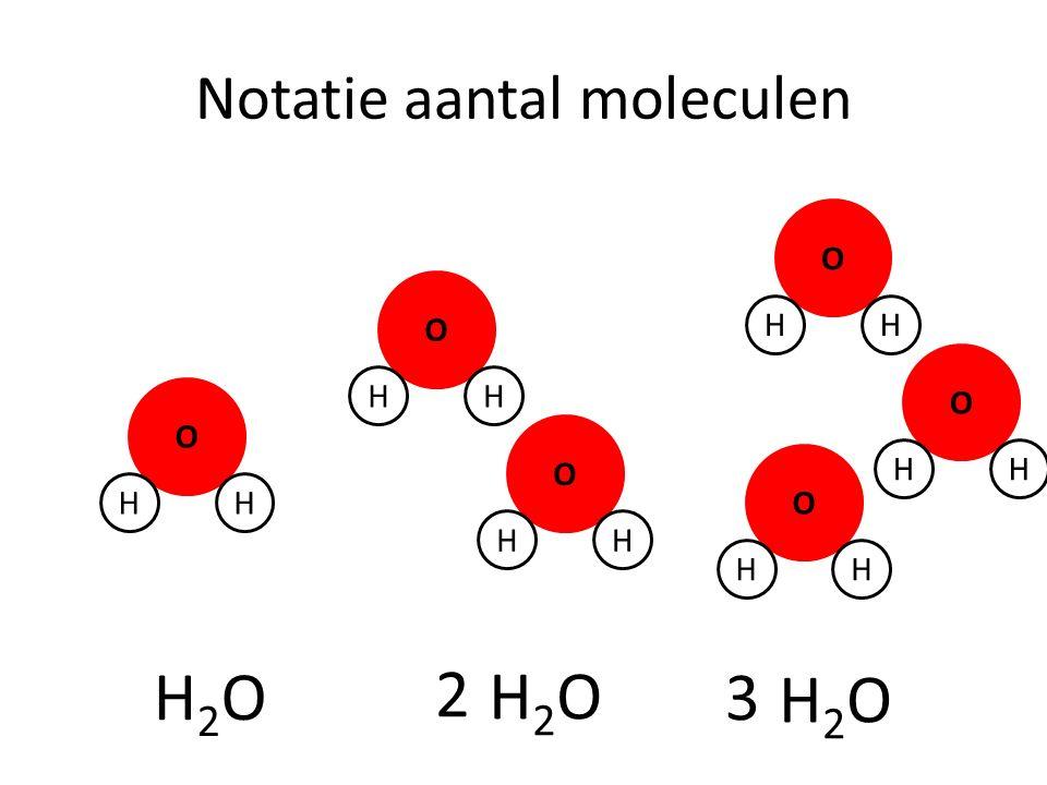 Notatie aantal moleculen O HH H2OH2O O HH O HH H2OH2O O HH O HH O HH 2 H2OH2O 3