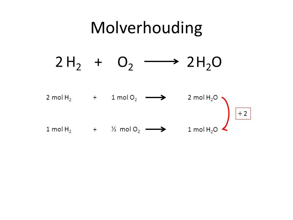Molverhouding H2H2 O2O2 +H2OH2O22 2 mol H 2 1 mol O 2 2 mol H 2 O+ 1 mol H 2 ½ mol O 2 1 mol H 2 O+ ÷ 2