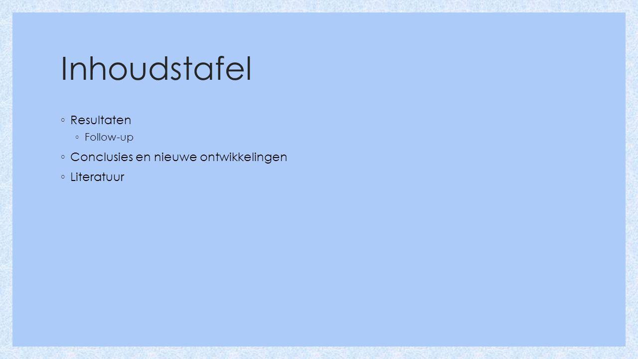 Inhoudstafel ◦ Resultaten ◦ Follow-up ◦ Conclusies en nieuwe ontwikkelingen ◦ Literatuur