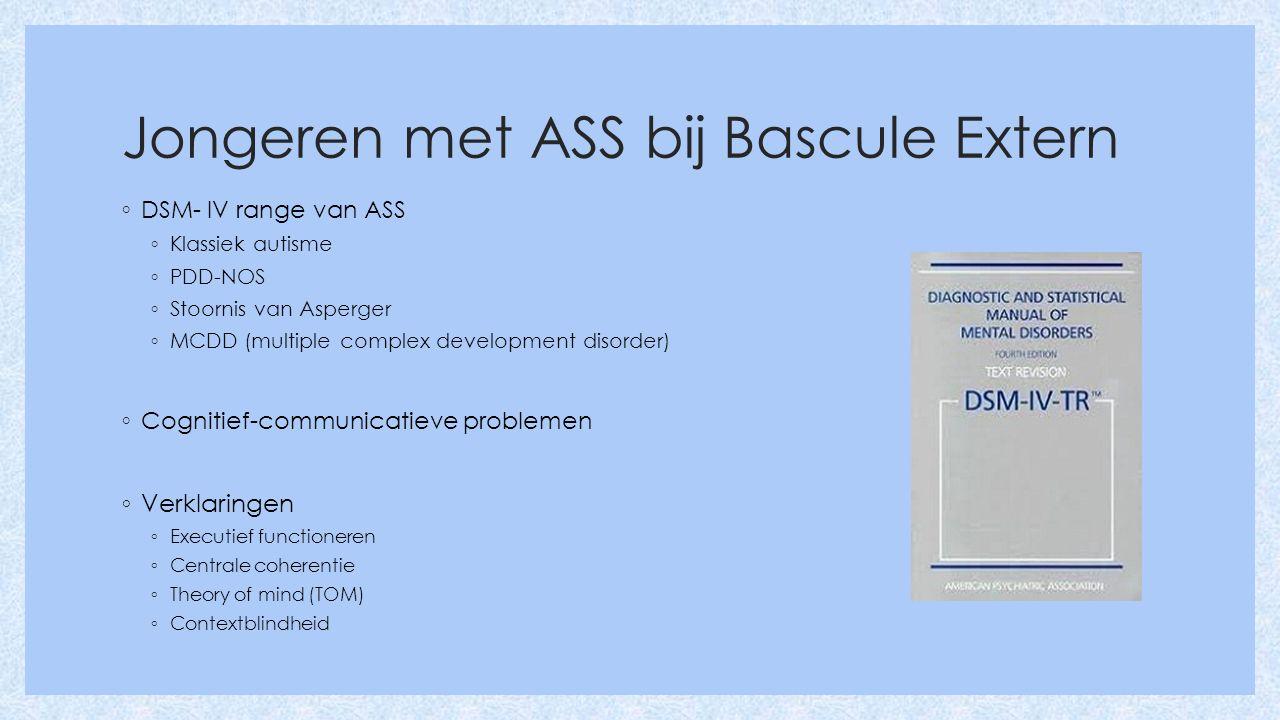 Jongeren met ASS bij Bascule Extern ◦ DSM- IV range van ASS ◦ Klassiek autisme ◦ PDD-NOS ◦ Stoornis van Asperger ◦ MCDD (multiple complex development disorder) ◦ Cognitief-communicatieve problemen ◦ Verklaringen ◦ Executief functioneren ◦ Centrale coherentie ◦ Theory of mind (TOM) ◦ Contextblindheid