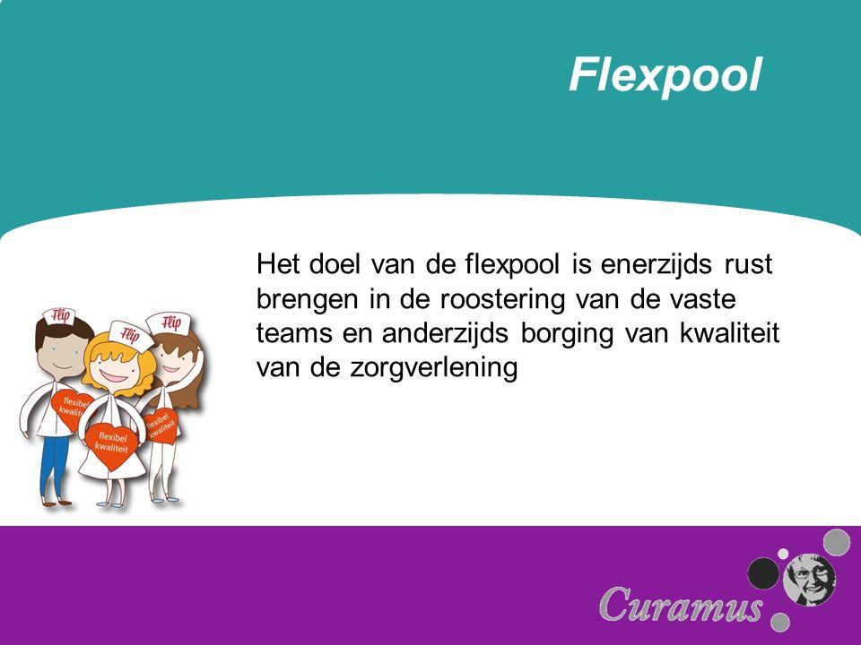 Flexpool Het doel van de flexpool is enerzijds rust brengen in de roostering van de vaste teams en anderzijds borging van kwaliteit van de zorgverleni
