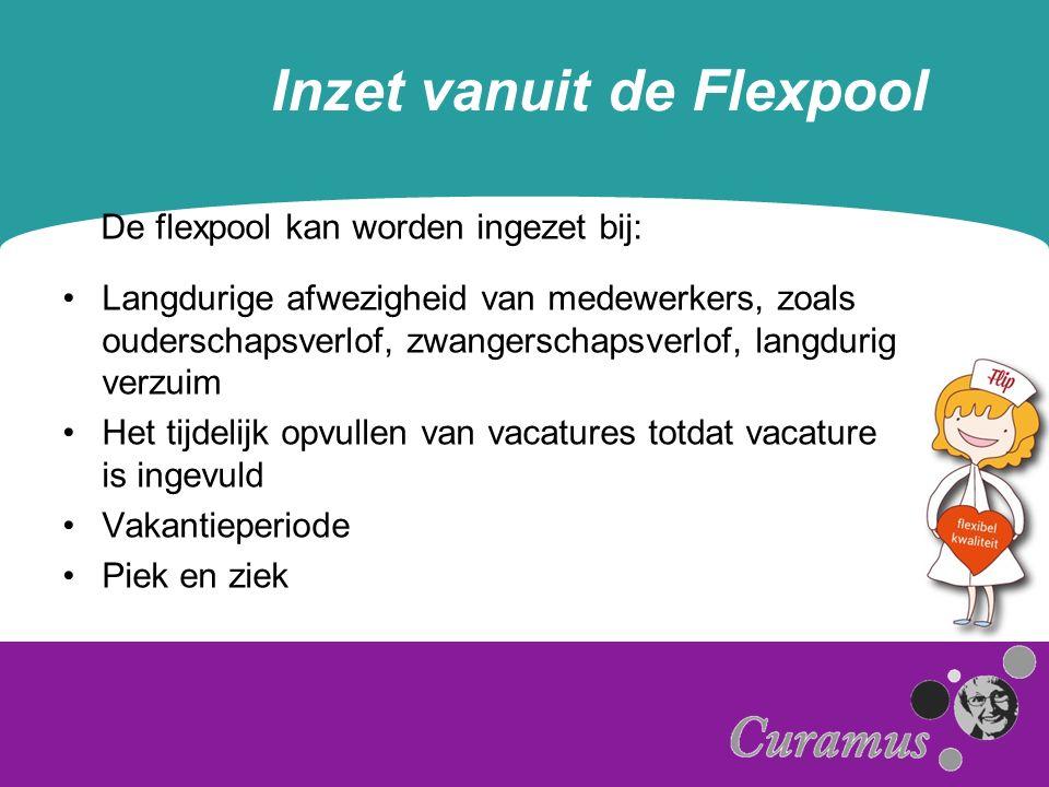 Inzet vanuit de Flexpool De flexpool kan worden ingezet bij: Langdurige afwezigheid van medewerkers, zoals ouderschapsverlof, zwangerschapsverlof, langdurig verzuim Het tijdelijk opvullen van vacatures totdat vacature is ingevuld Vakantieperiode Piek en ziek