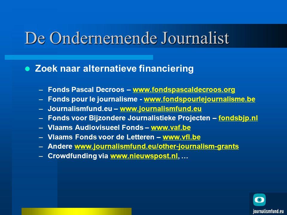 De Ondernemende Journalist Zoek naar alternatieve financiering –Fonds Pascal Decroos – www.fondspascaldecroos.orgwww.fondspascaldecroos.org –Fonds pou