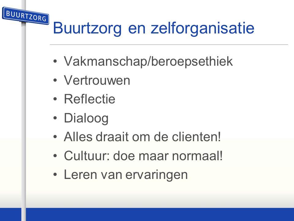 Buurtzorg en zelforganisatie Vakmanschap/beroepsethiek Vertrouwen Reflectie Dialoog Alles draait om de clienten.