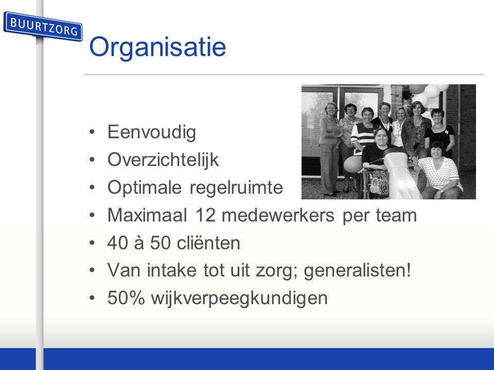 Organisatie Eenvoudig Overzichtelijk Optimale regelruimte Maximaal 12 medewerkers per team 40 à 50 cliënten Van intake tot uit zorg; generalisten.