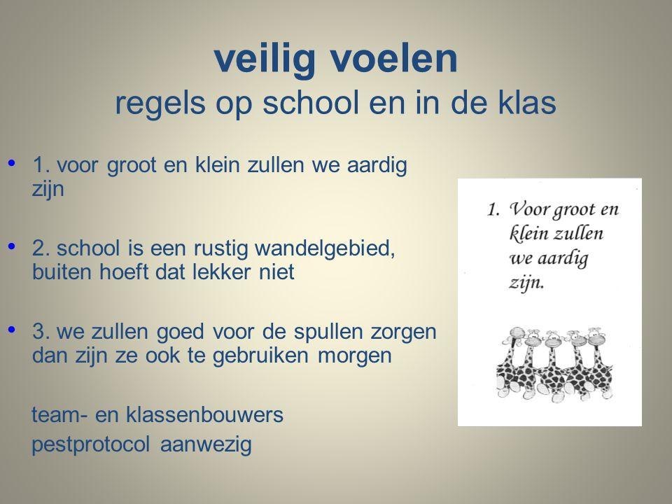 veilig voelen regels op school en in de klas 1. voor groot en klein zullen we aardig zijn 2.