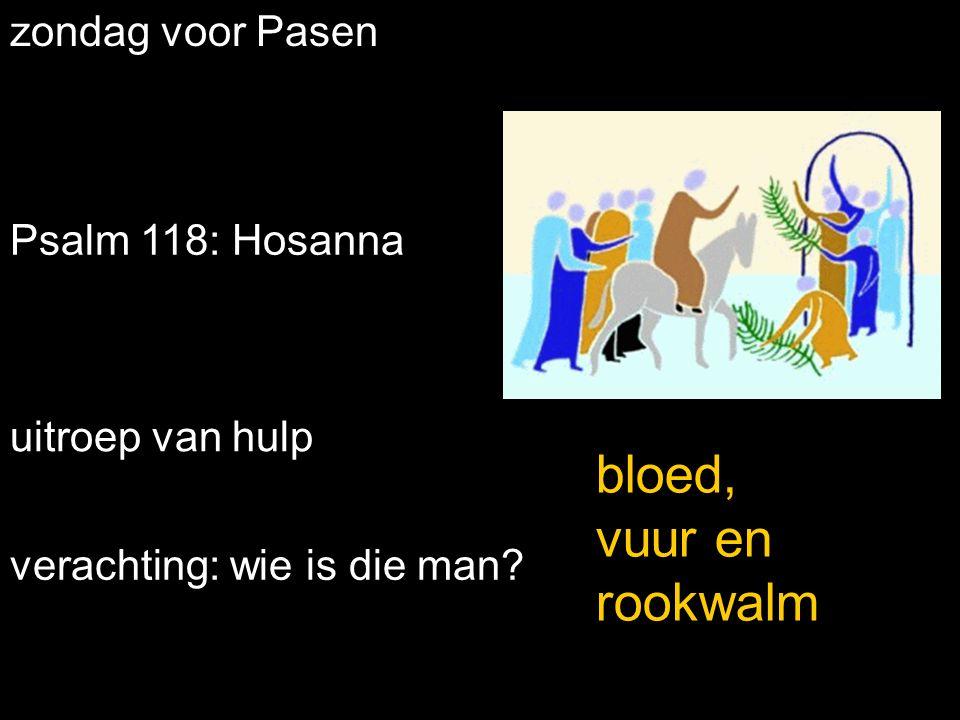 zondag voor Pasen Psalm 118: Hosanna uitroep van hulp bloed, vuur en rookwalm verachting: wie is die man
