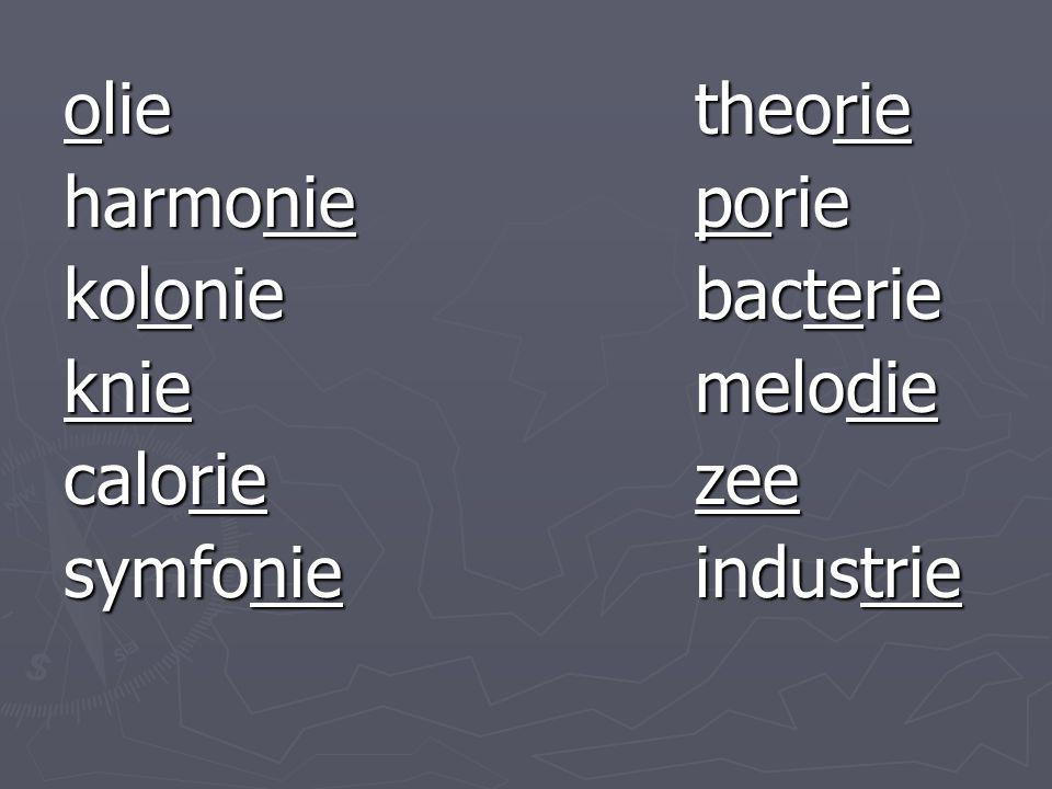 olietheorie harmonieporie koloniebacterie kniemelodie caloriezee symfonieindustrie