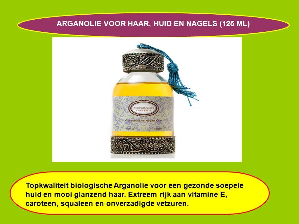 ARGANOLIE VOOR HAAR, HUID EN NAGELS (125 ML) Topkwaliteit biologische Arganolie voor een gezonde soepele huid en mooi glanzend haar.