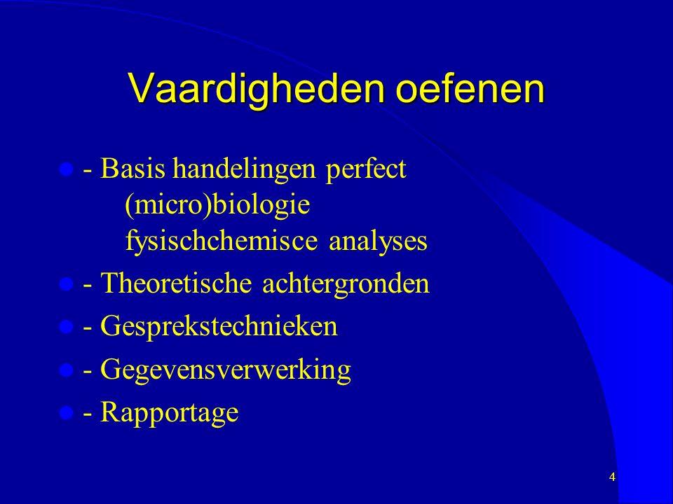 Vaardigheden oefenen - Basis handelingen perfect (micro)biologie fysischchemisce analyses - Theoretische achtergronden - Gesprekstechnieken - Gegevensverwerking - Rapportage 4