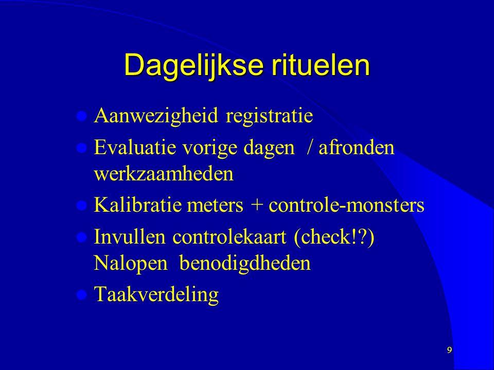 9 Dagelijkse rituelen Aanwezigheid registratie Evaluatie vorige dagen / afronden werkzaamheden Kalibratie meters + controle-monsters Invullen controlekaart (check! ) Nalopen benodigdheden Taakverdeling
