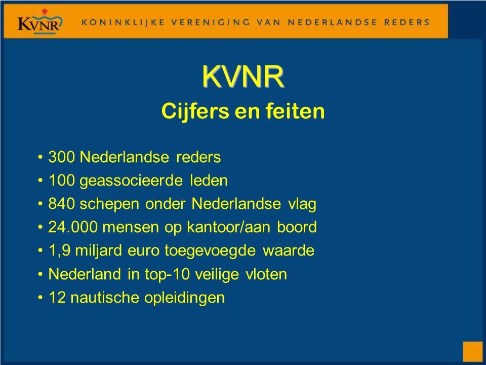 KVNR 300 Nederlandse reders 100 geassocieerde leden 840 schepen onder Nederlandse vlag 24.000 mensen op kantoor/aan boord 1,9 miljard euro toegevoegde waarde Nederland in top-10 veilige vloten 12 nautische opleidingen Cijfers en feiten