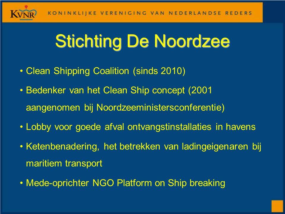 Stichting De Noordzee Clean Shipping Coalition (sinds 2010) Bedenker van het Clean Ship concept (2001 aangenomen bij Noordzeeministersconferentie) Lobby voor goede afval ontvangstinstallaties in havens Ketenbenadering, het betrekken van ladingeigenaren bij maritiem transport Mede-oprichter NGO Platform on Ship breaking
