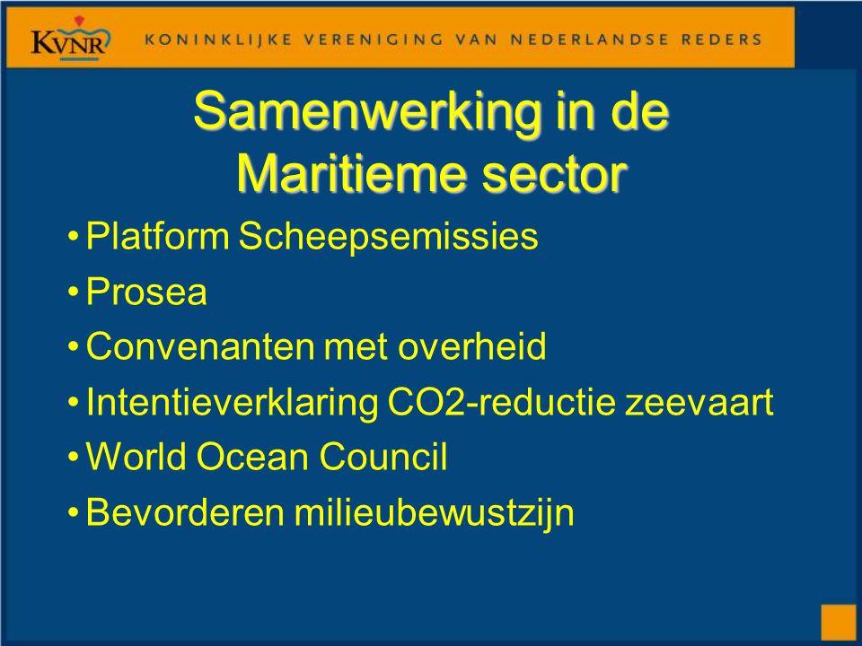 Samenwerking in de Maritieme sector Platform Scheepsemissies Prosea Convenanten met overheid Intentieverklaring CO2-reductie zeevaart World Ocean Council Bevorderen milieubewustzijn