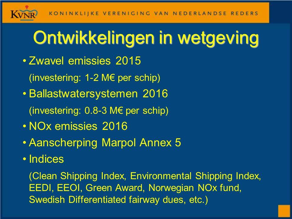 Ontwikkelingen in wetgeving Zwavel emissies 2015 (investering: 1-2 M€ per schip) Ballastwatersystemen 2016 (investering: 0.8-3 M€ per schip) NOx emiss