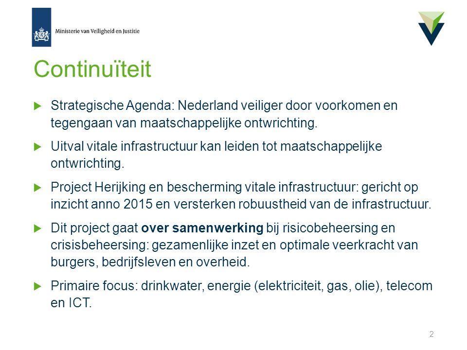 Continuïteit  Strategische Agenda: Nederland veiliger door voorkomen en tegengaan van maatschappelijke ontwrichting.