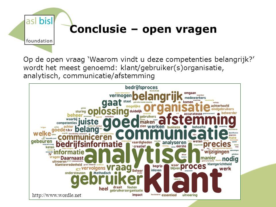 Conclusie – open vragen Op de open vraag 'Waarom vindt u deze competenties belangrijk ' wordt het meest genoemd: klant/gebruiker(s)organisatie, analytisch, communicatie/afstemming http://www.wordle.net