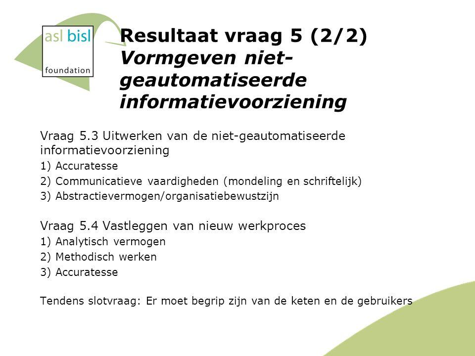 Resultaat vraag 5 (2/2) Vormgeven niet- geautomatiseerde informatievoorziening Vraag 5.3 Uitwerken van de niet-geautomatiseerde informatievoorziening 1) Accuratesse 2) Communicatieve vaardigheden (mondeling en schriftelijk) 3) Abstractievermogen/organisatiebewustzijn Vraag 5.4 Vastleggen van nieuw werkproces 1) Analytisch vermogen 2) Methodisch werken 3) Accuratesse Tendens slotvraag: Er moet begrip zijn van de keten en de gebruikers