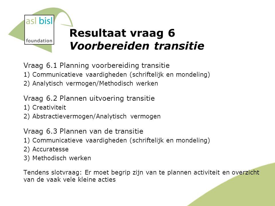 Resultaat vraag 6 Voorbereiden transitie Vraag 6.1 Planning voorbereiding transitie 1) Communicatieve vaardigheden (schriftelijk en mondeling) 2) Analytisch vermogen/Methodisch werken Vraag 6.2 Plannen uitvoering transitie 1) Creativiteit 2) Abstractievermogen/Analytisch vermogen Vraag 6.3 Plannen van de transitie 1) Communicatieve vaardigheden (schriftelijk en mondeling) 2) Accuratesse 3) Methodisch werken Tendens slotvraag: Er moet begrip zijn van te plannen activiteit en overzicht van de vaak vele kleine acties