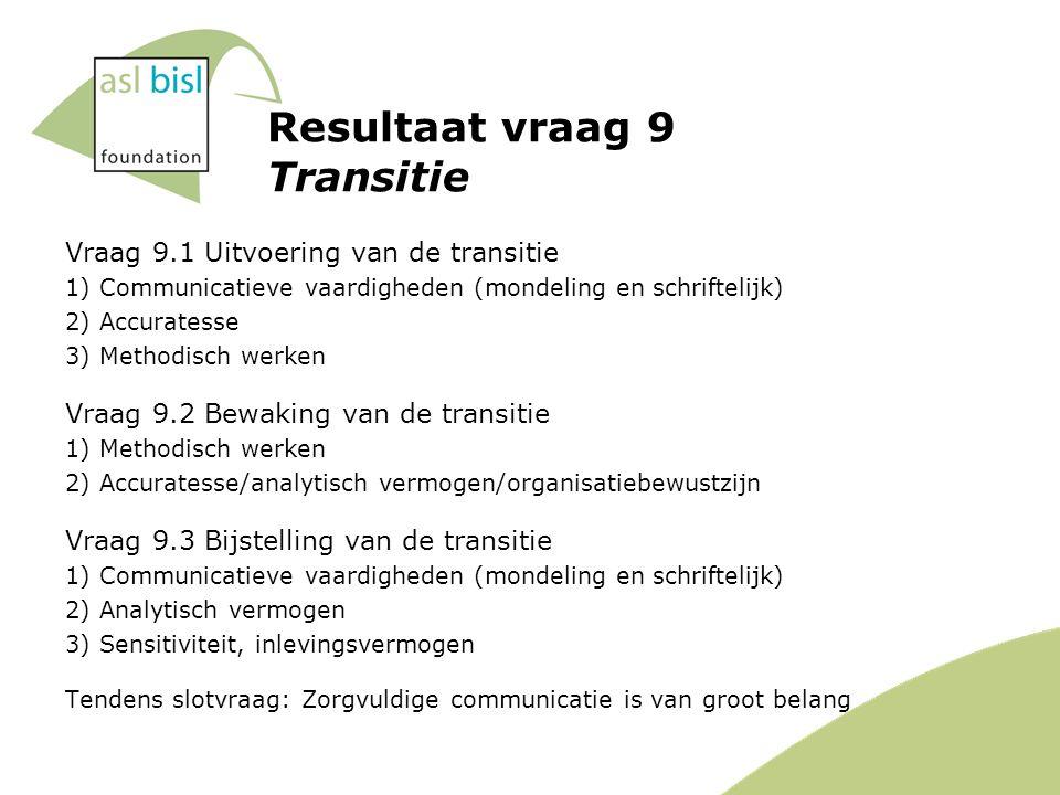 Resultaat vraag 9 Transitie Vraag 9.1 Uitvoering van de transitie 1) Communicatieve vaardigheden (mondeling en schriftelijk) 2) Accuratesse 3) Methodisch werken Vraag 9.2 Bewaking van de transitie 1) Methodisch werken 2) Accuratesse/analytisch vermogen/organisatiebewustzijn Vraag 9.3 Bijstelling van de transitie 1) Communicatieve vaardigheden (mondeling en schriftelijk) 2) Analytisch vermogen 3) Sensitiviteit, inlevingsvermogen Tendens slotvraag: Zorgvuldige communicatie is van groot belang