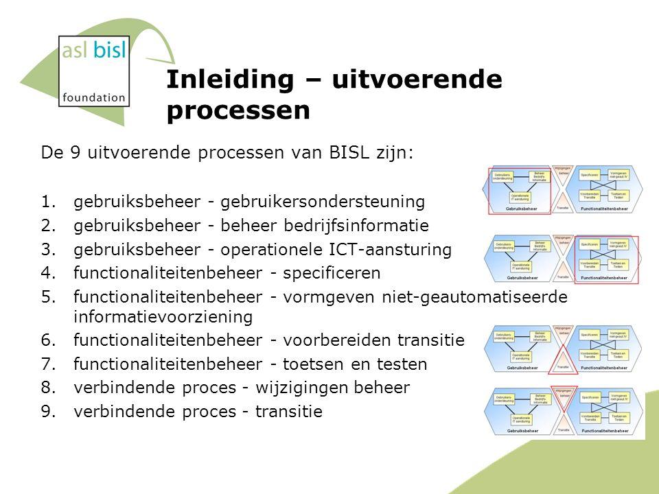 Inleiding – uitvoerende processen De 9 uitvoerende processen van BISL zijn: 1.gebruiksbeheer - gebruikersondersteuning 2.gebruiksbeheer - beheer bedrijfsinformatie 3.gebruiksbeheer - operationele ICT-aansturing 4.functionaliteitenbeheer - specificeren 5.functionaliteitenbeheer - vormgeven niet-geautomatiseerde informatievoorziening 6.functionaliteitenbeheer - voorbereiden transitie 7.functionaliteitenbeheer - toetsen en testen 8.verbindende proces - wijzigingen beheer 9.verbindende proces - transitie