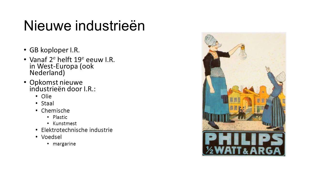Nieuwe industrieën GB koploper I.R. Vanaf 2 e helft 19 e eeuw I.R.
