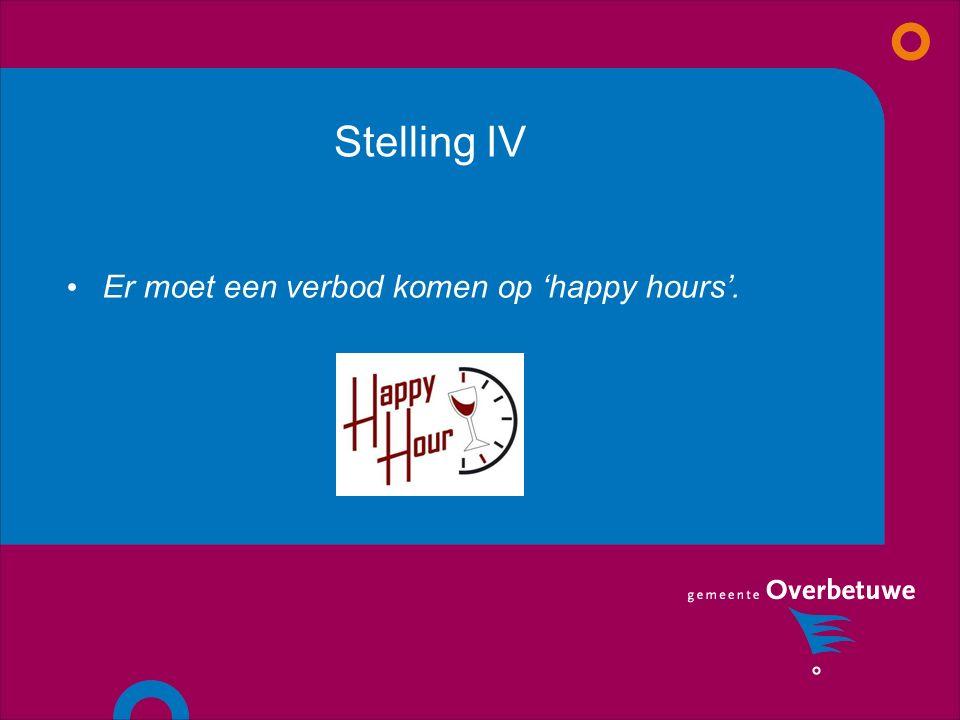 Stelling IV Er moet een verbod komen op 'happy hours'.