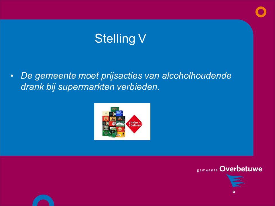 Stelling V De gemeente moet prijsacties van alcoholhoudende drank bij supermarkten verbieden.